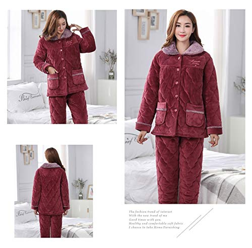 Service Warm 65kg 168cm Cotton Pajamasx Set Quilted Three aged Jacket Home Xl162 58 Women's Winter Middle Thick layer Pajamas wwgPUv