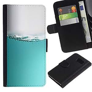 KLONGSHOP / Tirón de la caja Cartera de cuero con ranuras para tarjetas - Water Sea Aquarium Grey White Liquid - Samsung Galaxy S6 SM-G920