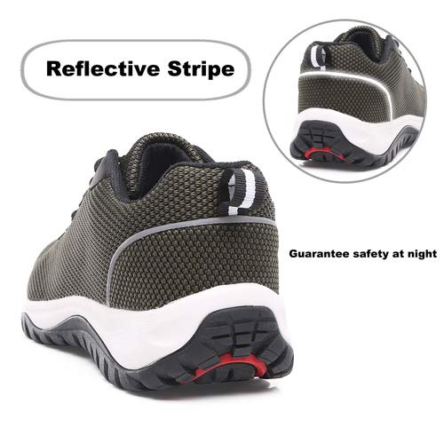 aeepd Steel Toe Shoes Men, Safety Work Sneakers Reflective Strip Industrial & Construction Shoe Yellow