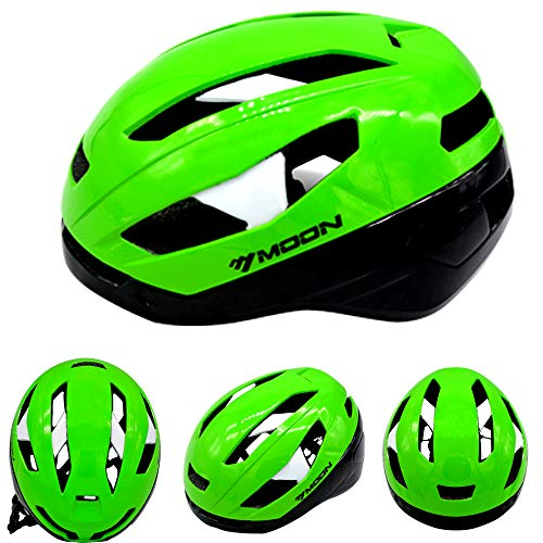 MOON Adult Cycling Helmets Bike Bicycle Helmet with Magnetic Goggles, Mountain&Road, Men&Women, Adjustable, Lightweight, Safety Protection, Green, Large