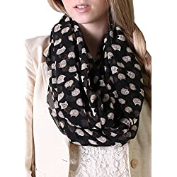 Women Cute Meow Cat Infinity Scarfs - Soft, Sheer, Lightweight (Black/Tan)