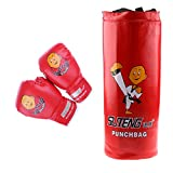 Fenteer Children Kids Punching Bag and Gloves Set Unfilled Punching Bag Pair of Soft Padded Boxing Gloves Boxing Training MMA Heavy Punch Bag