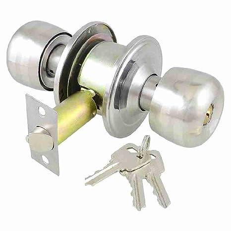 Office Home Plata Tono Keyed redondas Pomo de puerta cerradura Lock Set w Keys