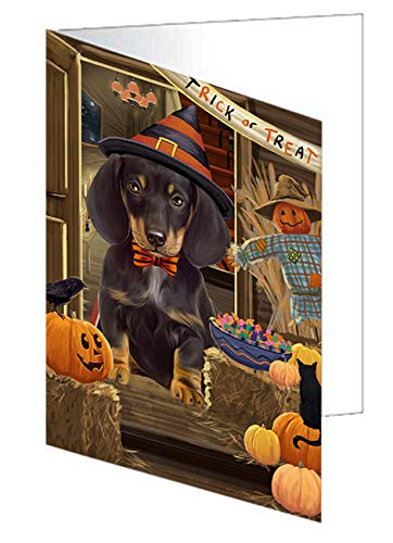Enter at Own Risk Trick or Treat Halloween Dachshund Dog Note Card NCD63353 (10)]()