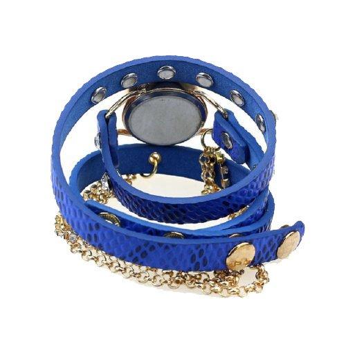DAYAN Women's Fashion Leather Wrap Around Glitter Rhinestone Rivet Golden Chain Quartz Wrist Watch Blue