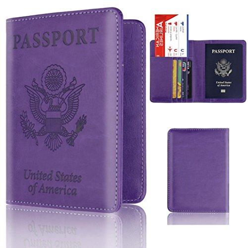 (Storage Package, Yezijin Leather Passport Holder Wallet Cover Case RFID Blocking Travel Wallet (Purple))