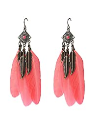 Coromose Vintage Leaf Earrings Feather Drop Earring (Red)