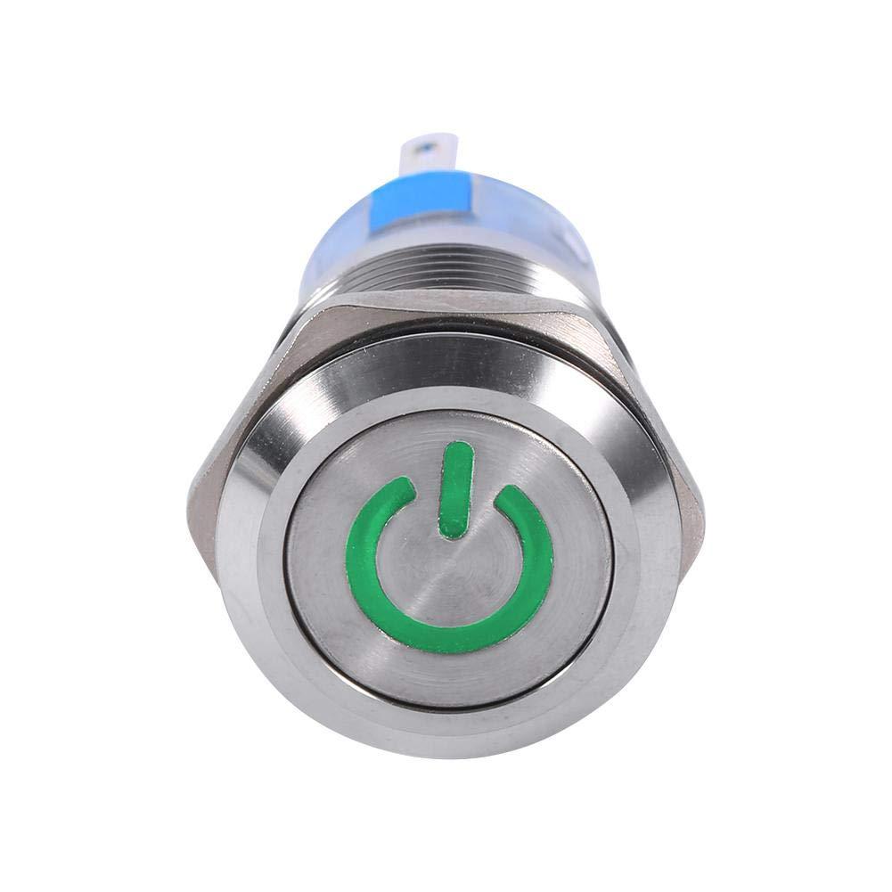 Gr/ün Keenso 19mm 12V Auto Power Druckschalter wasserdicht Metall LED-Tastenschalter selbstsichernde Rast Druckknopf Schalter 1NO1NC