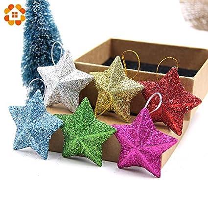 Amazon Com Sala Tecco 6pcs Lot 5cm Diy Gillter Stars Christmas