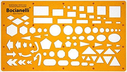 Schablone Zeichenschablone Technisches Zeichnen - Pfeile Sechseck Kreis Ellipse Ellipsen Quadrat Rechteck Dreieck