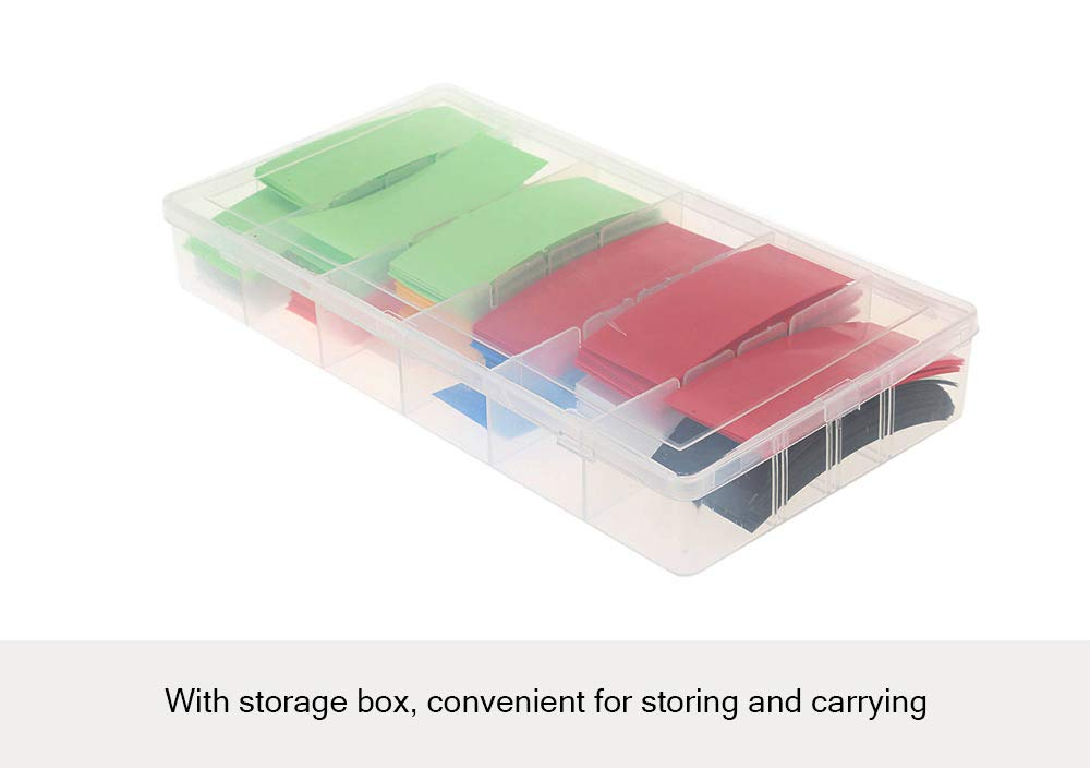 PVC Heat Shrink Tubing Tube Sleeves for 18650 Battery with Storage Box 280pcs