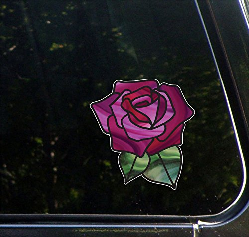 (Yadda-Yadda Design Co. Rose Stained Glass - D1 - Opaque Vinyl Transfer Car Decal 2016 (5