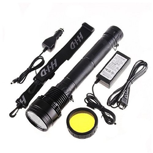 Sunworld® HID Xenon 9300mah Torch Flashlight SOS for Outdoor 85W 8500L 3 mode +2 strobe(sos)-Black (Hid Xenon Torch Flashlight)