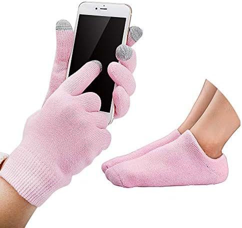 Codream Touch Screen Moisturizing Gloves Gel Moisturizing Spa Gloves and Socks Set Gel Socks Heal Eczema Cracked Dry Skin for Repair Treatment