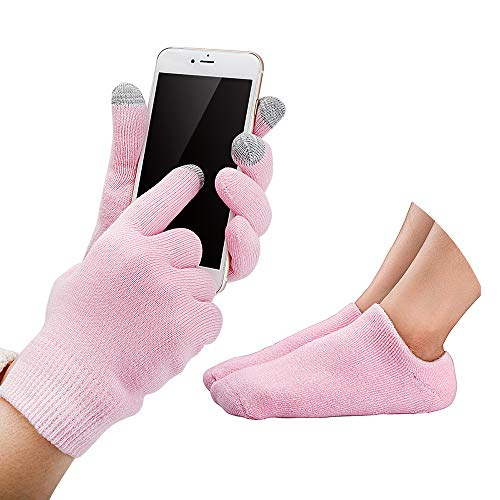 Codream Touch Screen Moisturizing Gloves Gel Moisturizing Spa Gloves and Socks Set Gel Socks Heal Eczema Cracked Dry Skin for Repair Treatment (Hand Lotion Gloves)