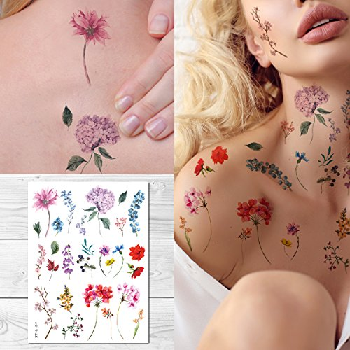 Supperb Temporary Tattoos - Watercolor style Handrawn painted flowers floral wildflowers branches leaf herbs Tattoo by Supperb