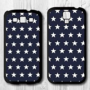 For Samsung Galaxy S4 / S3 Case, Navy Blue With Stars Pattern Protective Hard Phone Cover Skin Case For Samsung Galaxy S3 + Screen Protector