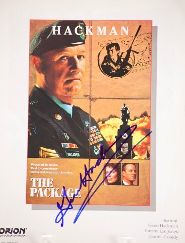 Gene Hackman Autographed 8x11 The Package Movie Broadside - Signed in Blue Sharpie - Signed in Person - Rare - Collectible