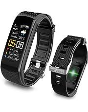 HUYVMAY Fitnesstracker, smartwatch, waterdicht, fitnesshorloge voor dames en heren, fitnessarmband met hartslagmeter, stappenteller, activiteitstracker, horloge met oproep en berichtmelding