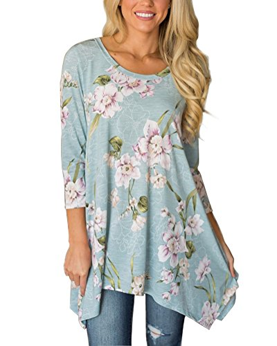 3/4 Sleeve Tunic Top - MIROL Women's Spring Floral Print 3/4 Sleeve Irregular Hem Asymmetrical Tunic Loose Long Blouse Tops