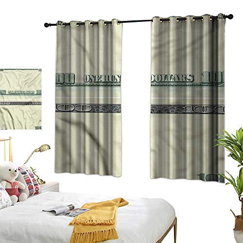 G Idle Sky Printed Curtain Money Bedroom Blackout Curtains Dollar Bill Frame Pattern 55