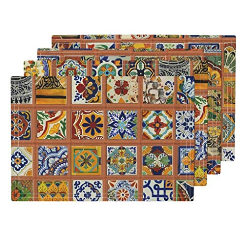 Talavera Tile Mexican 4pc Eco Canvas Cloth Placemat Set - Pottery Red Clay Mortar Latin America Aztec Art Maya Kitchen Tiled Floo Mexico Central America by Wren Leyland (Set of 4) 13 x 19in ()