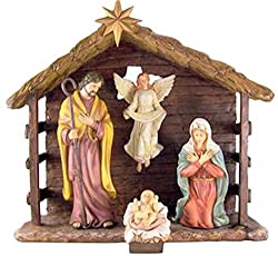 The Holy Family With Gloria Angel In Barn 13 Inch Cold Cast Resin Nativity Set