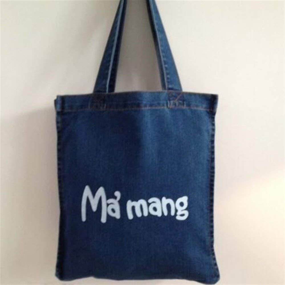 WHXYAA Female Shoulder Denim Bag Environmentally Friendly Tote Bag Deep Blue Shopping Bag Mummy Bucket Bag Canvas Bag