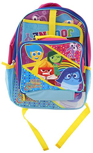 Inside Out 15 Inch Backpack & 9.4 Inch Lunch Box Set Featuring Characters Riley, Joy, Sadness, Anger, Fear and Disgust