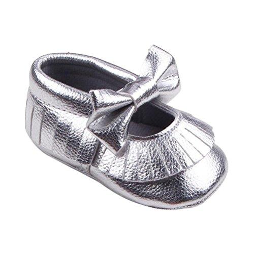 Tefamore Zapatos Bebé De Casual Brillante Cuna Calzado Bowknot Niño Plata