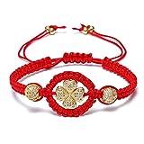 HUANSHA Red Rope Bracelets For Women Lucky Handmade String Braided Clover Charm Adjustable Bracelet