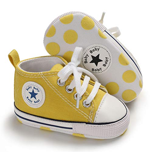 Tutoo Baby Boys Girls Shoes Canvas Toddler Sneaker Soft Anti Slip Sole Star High Top Ankle Infant First Walkers Crib Shoes for 3-18 Months Candy Colors Shoes Yellow (Yellow Baby Walker)