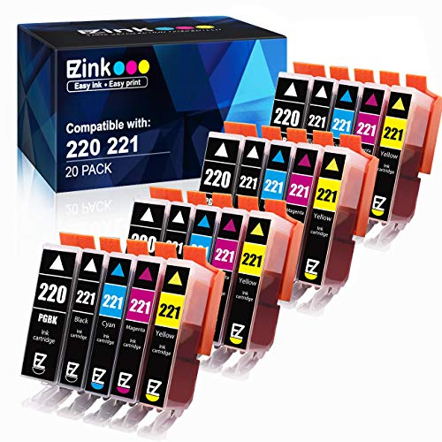 E-Z Ink (TM) Compatible Ink Cartridge Replacement for Canon PGI-220 PGI220 CLI-221 CLI221 to use with PIXMA MX860 MX870 MP560 (4 Large Black, 4 Cyan, 4 Magenta, 4 Yellow, 4 Small Black) 20 Pack ()