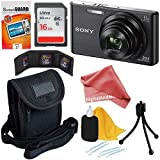 Sony Cyber-shot DSC-W830 20.1 MP Digital Camera with 8x Optical Zoom and Full HD 720p Video (Black) + 7pc Bundle 16GB Accessory Kit w/ DigitalAndMore Ultra Gentle Cleaning Cloth