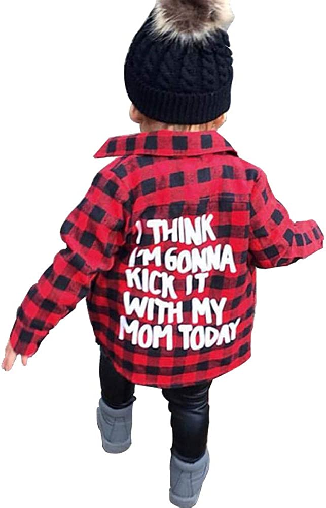 Toddler Long Sleeve Shirt Baby Boy Girl Plaid Top for Toddler Spring Winter Coat for Kid