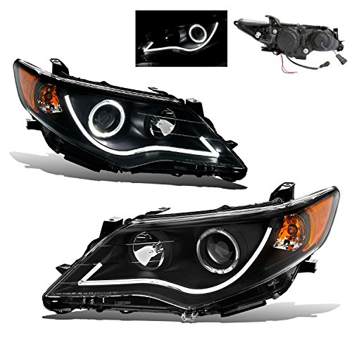 SPPC Projector Black Headlights Assembly Set for Toyota Camry - (Pair) Driver Left and Passenger Right Side Replacement Headlamp