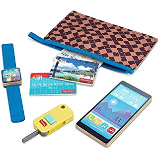 Fisher-Price On-The-Go Wallet - 7-Piece Pretend Play Gift Set Featuring Real Wood for Preschoolers Ages 3 Years & Up