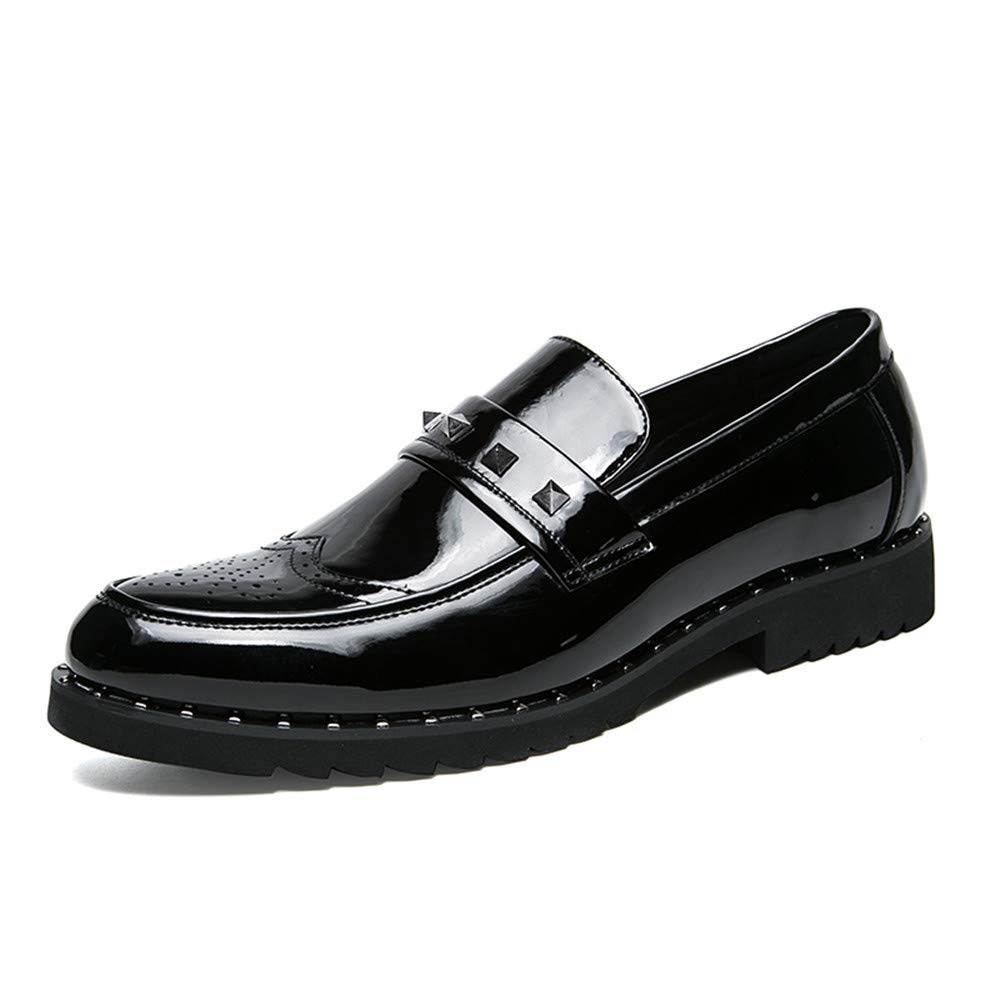 [HYF] オックスフォード シューズ メンズ ビジネス オックスフォード カジュアル ファッション スティッチ パーソナリティ パテント レザー ブローグ シューズ ビジネス シューズ メンズ 8.5 M US ブラック B07S8C1XGX ブラック 8.5 M US