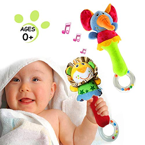 - Baby Soft Rattles Shaker | Infant Developmental Hand Grip Baby Toys | Cute Stuffed Animal with Sound for 3 6 9 12 Months and Newborn Gift(2 Pack)