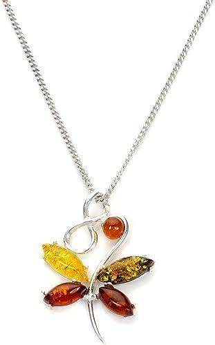 collier argent pendentif ambre