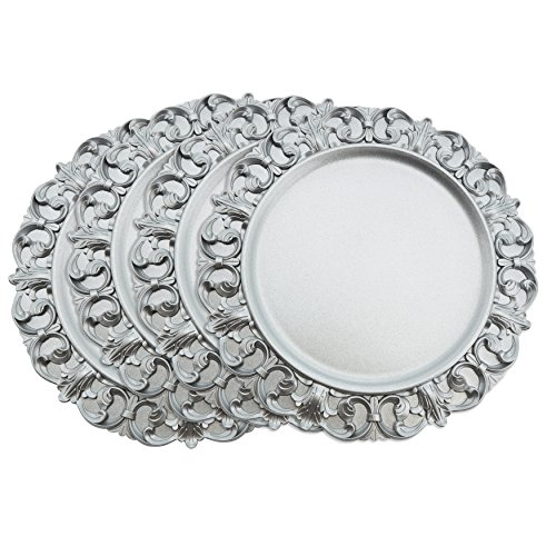 SARO LIFESTYLE Sousplat Collection Baroque Design Decorative Charger Plate, 14