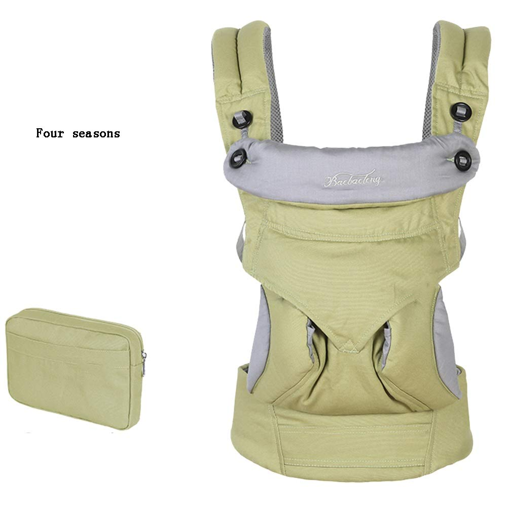 YUMEIGE Carriers Soft Baby Carriers,Four Seasons, Back Carriers,with Belt Pocket,Carrier Slings,4 Carrying Positions,with Sunhat (Color : Green)