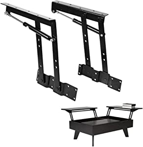 Yosoo One Pair 50kg/100lb Lift Up Top Coffee Table Lifting Frame Mechanism Hardware Spring Hinge Gas Hydraulic Hinge Hardware DIY Side Table Furniture Accessories