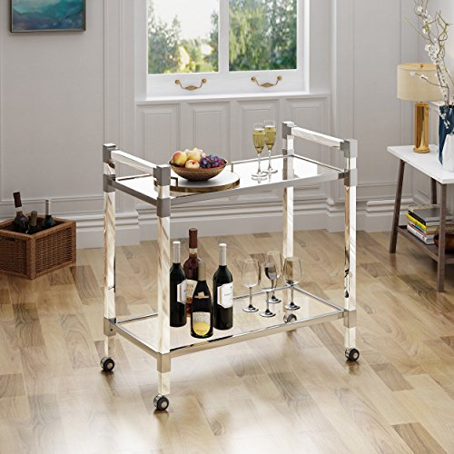 Glass Trolley - Great Deal Furniture | Hilary | Modern Glass Bar Trolley | in Clear