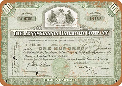 (Wall-Color 10 x 14 Metal Sign - Certificate Art - 1948 Pennsylvania Railroad Stock Certificate - Vintage Look)