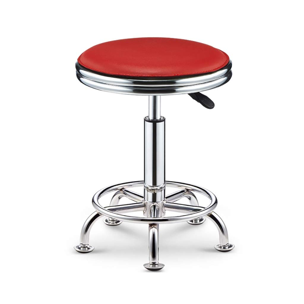 RED NUBAO Task Stool, Counter Chair, High Stool, Hard Leather Packaging Electroplated Chassis Nail Non-Slip Mute Clinic Hair Salon Stool Lift 39-51cm 6 colors (color   White)