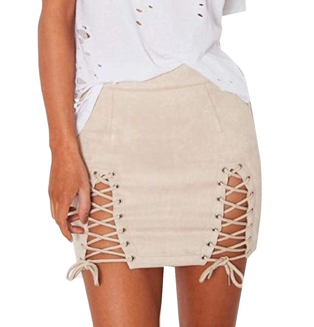 Andopa Falda corta gamuza sintética estilo básico de tiras de la ...