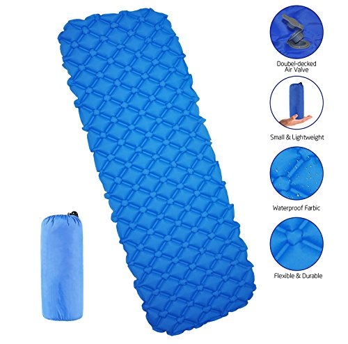 ENTOY Inflatable Sleeping Pad 20D/40D Lightweight Compact Waterproof Air Camping Mat Ultralight Portable Self Inflating Sleeping Mat for Picnic Backpacking Travel Hiking Camping Mattress