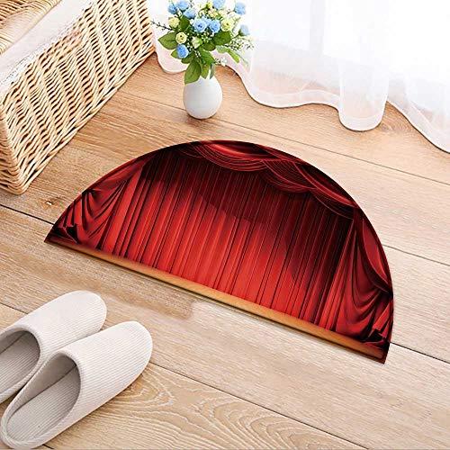 - Kitchen Rugs Floor mats Velvet Curtains and Wooden Stage Floor Waterproof Semi-Circular Door Mat Floor Mats W35 x H24 INCH