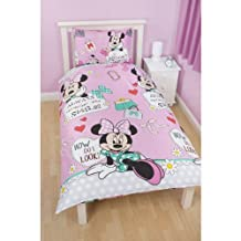 Disney Minnie Mouse Girls Makeover Reversible Duvet Cover Bedding Set (Twin Bed) (Pink)